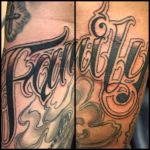 tattoo chosen art studio black and grey family script lettering arizona glendale