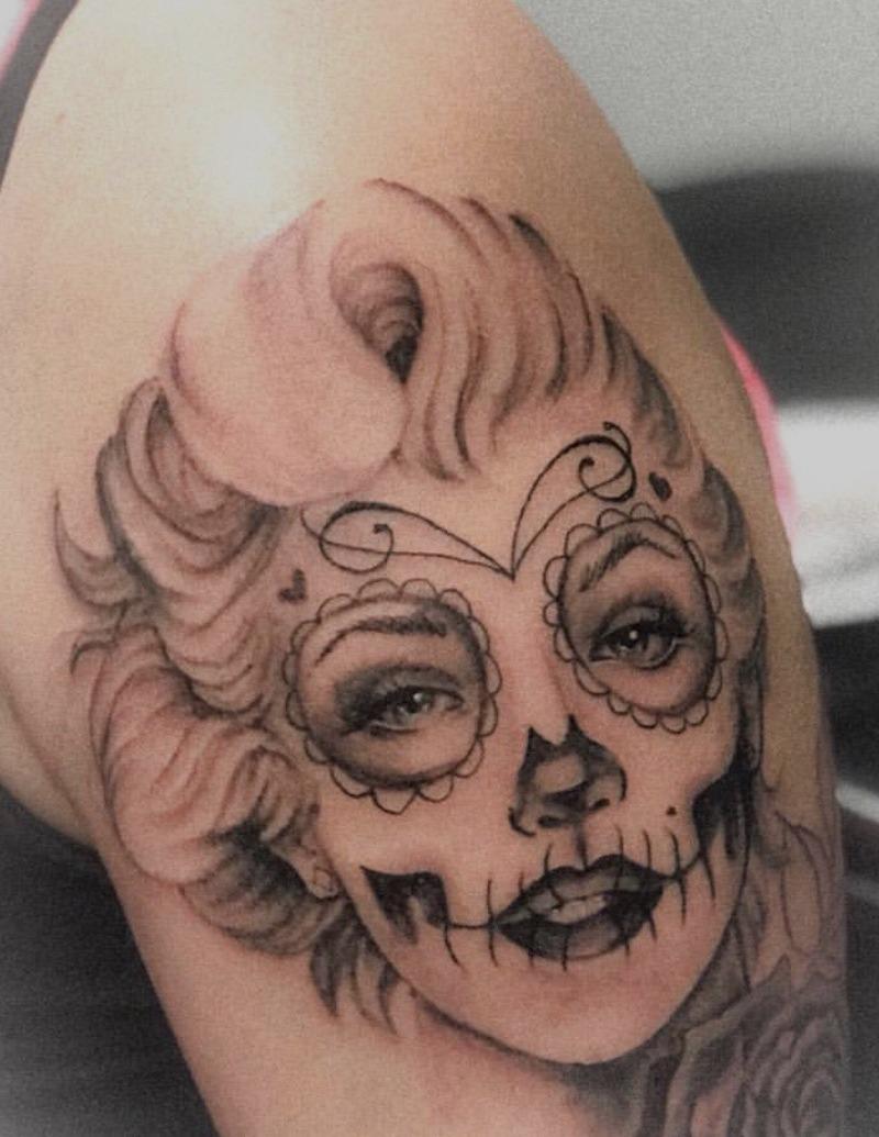 American Traditional Marilyn Monroe Tattoo by Alex Ortagus - Chosen Art Tattoo
