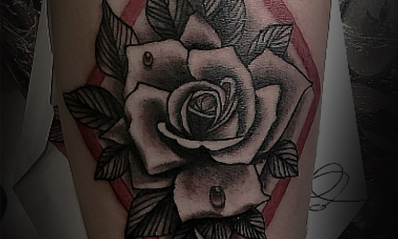 Black and Gray and Color Flower Blend Tattoo by Artemis - Chosen Art Tattoo