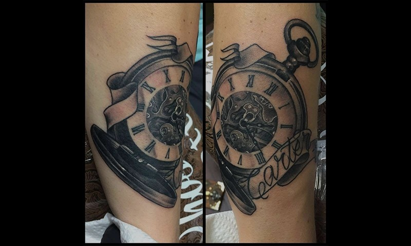 Black and Grey Clock Tattoo - Eric Jones - Tattoo Artist - Chosen Art Tattoo