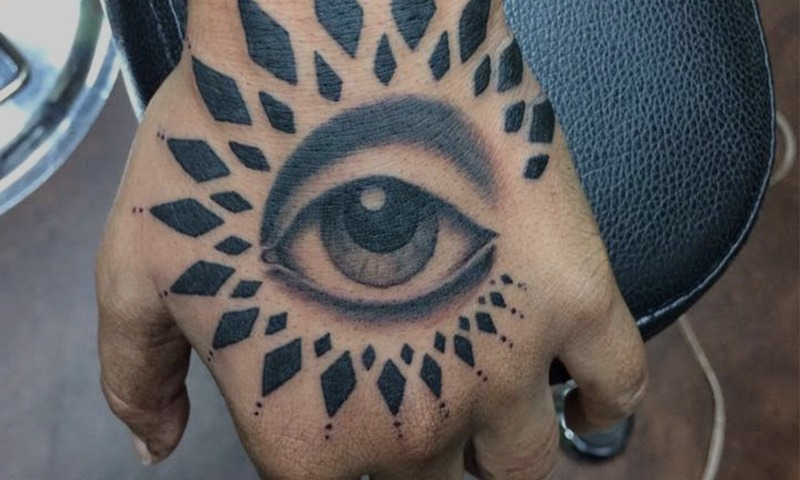 Black and Grey Eye Tattoo on Hand by Tim Bruder - Chosen Art Tattoo