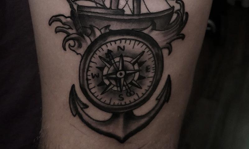 Black and Grey Nautical Tattoo by Artemis - Chosen Art Tattoo