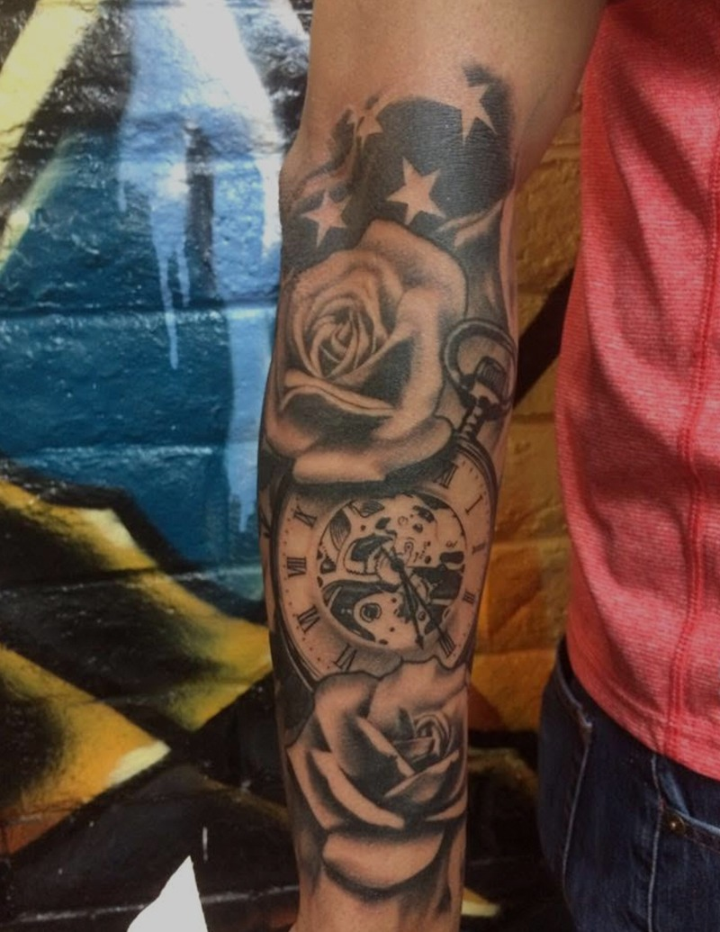 Black and Grey Rose and Clock Tattoo by Tim Bruder - Chosen Art Tattoo