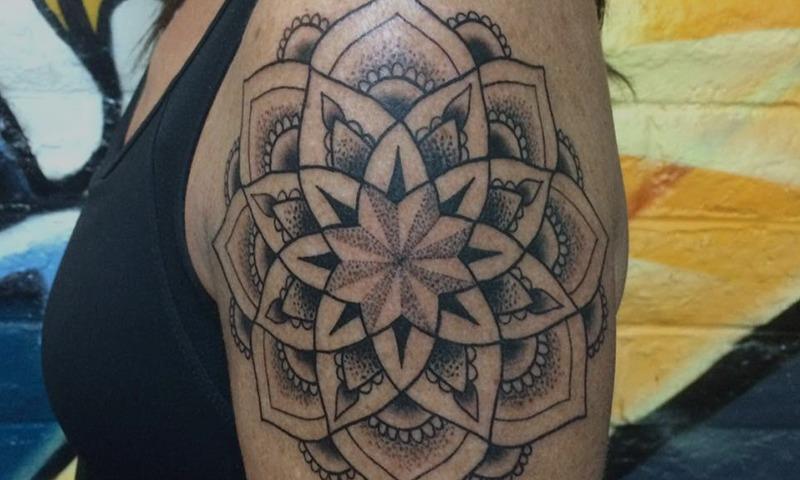 Black and Grey Flower Tattoo by Tim Bruder - Chosen Art Tattoo