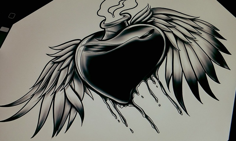 Black and Gray Heart Art by Jake McKeen - Chosen Art Tattoo