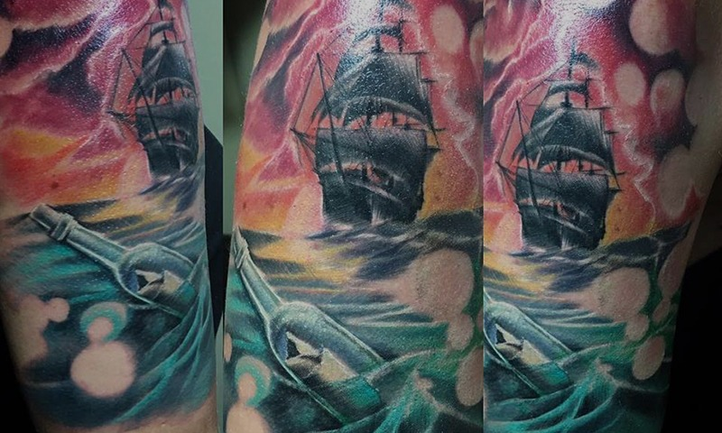 Color Ship Tattoo by Jake McKeen - Chosen Art Tattoo