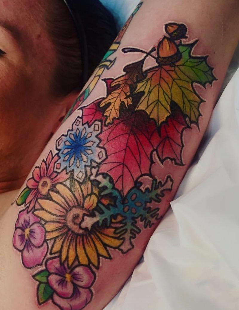 Leaf Assortment Color Tattoo by Alex Ortagus - Chosen Art Tattoo