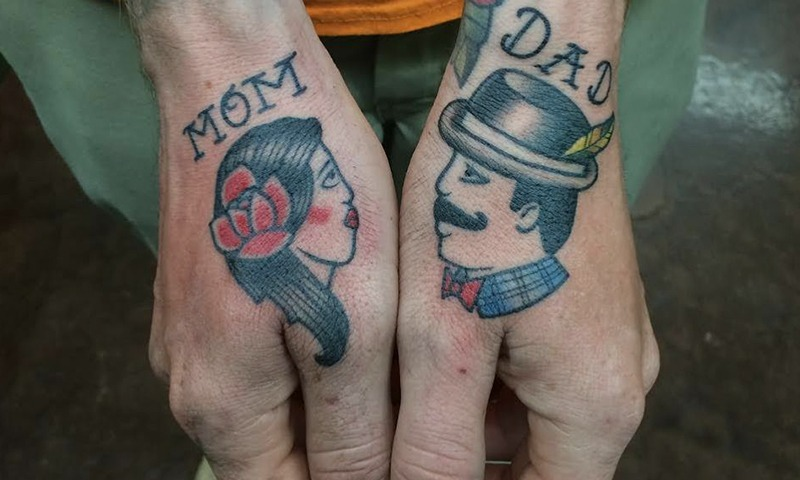 Mom Dad Tattoo Traditional by Tim Bruder - Tattoo Artist - Chosen Art Tattoo