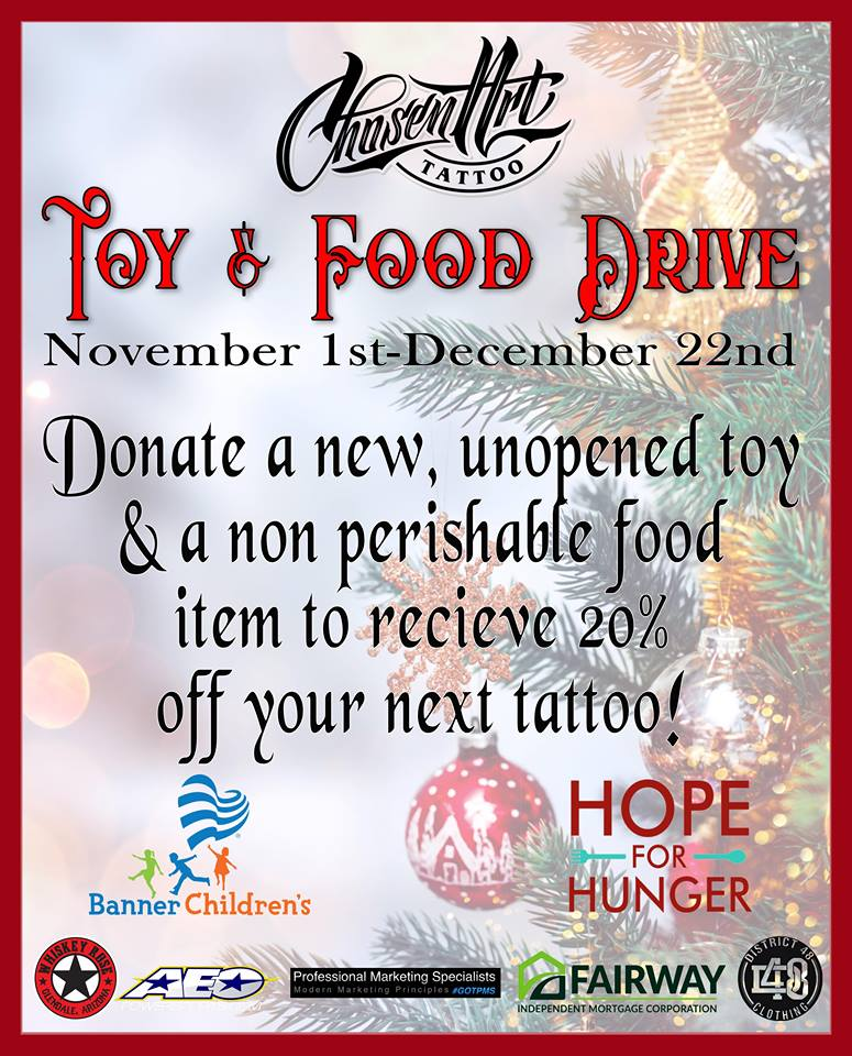 Holiday Toy & Food Drive Flyer from Chosen Art Tattoo