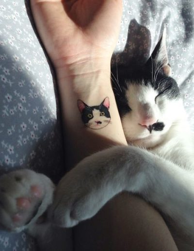 Cat Minimalist Tattoos by Victoria Robu - Chosen Art Tattoo
