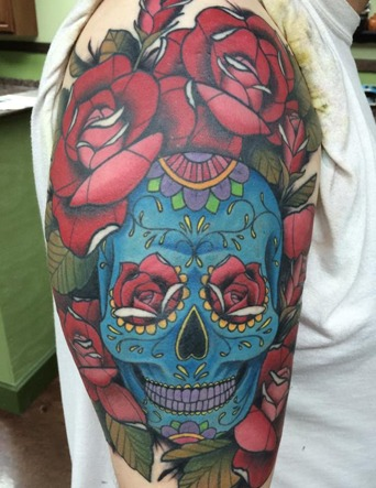 Color Skull and Rose Tattoo - Tim Bruder - Chosen Art Tattoo - Tattoo Shop in Glendale