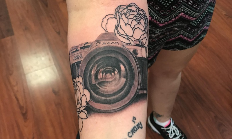 Black and Grey Canon Camera with Flower Tattoo - Nik Simone - Chosen Art Tattoo