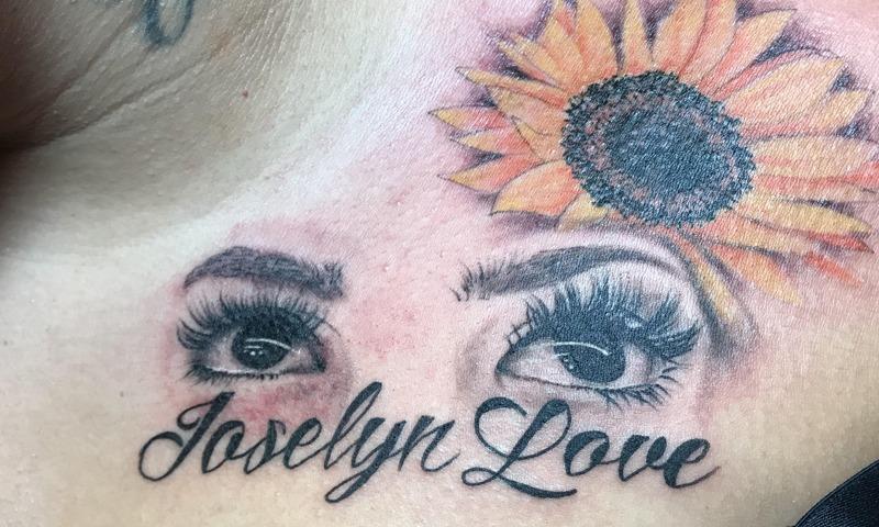 Black and Grey + Color Font Tattoos by Nik Simone - Chosen Art Tattoo