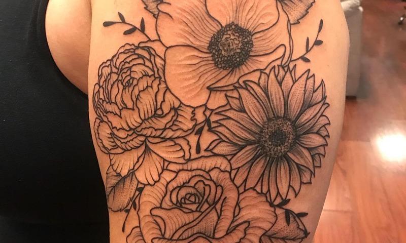 Black and Grey Flower Arm Tattoo - Nik Simone - Chosen Art Tattoo