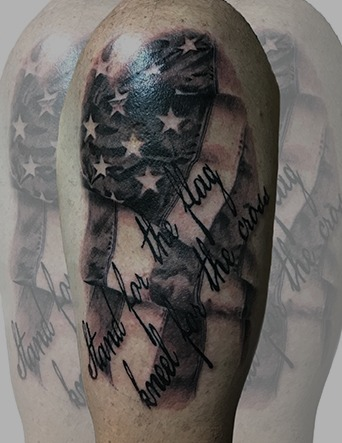 Black and Grey American Flag with Quote Tattoo by Eric Jones - Chosen Art Tattoo