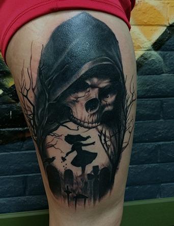 Black and Grey Death and Alice in Wonderland Tattoo by Tim Bruder - Chosen Art Tattoo