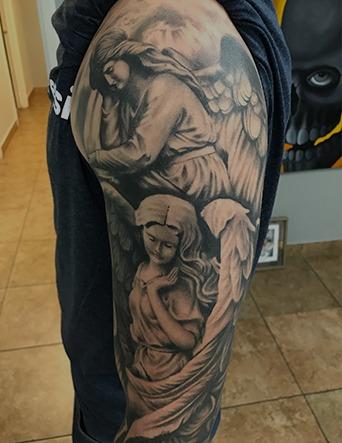 Black and Grey Full Sleeve Angel Tattoo by Tim Bruder - Chosen Art Tattoo