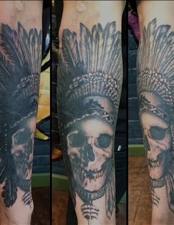 Black and Grey Indian Skull Headdress Tattoo by Tim Bruder - Chosen Art Tattoo