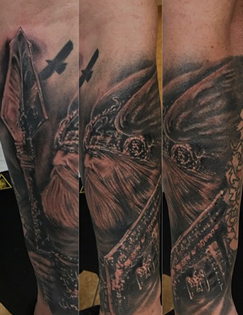 Black and Grey Norse God Odin with Raven Tattoo by Tim Bruder - Chosen Art Tattoo