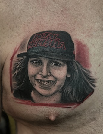 Black and Grey and Color Mix Child Portrait Tattoo by Eric Jones - Chosen Art Tattoo
