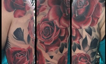 Color Half Sleeve Roses Tattoo by Eric Jones - Chosen Art Tattoo
