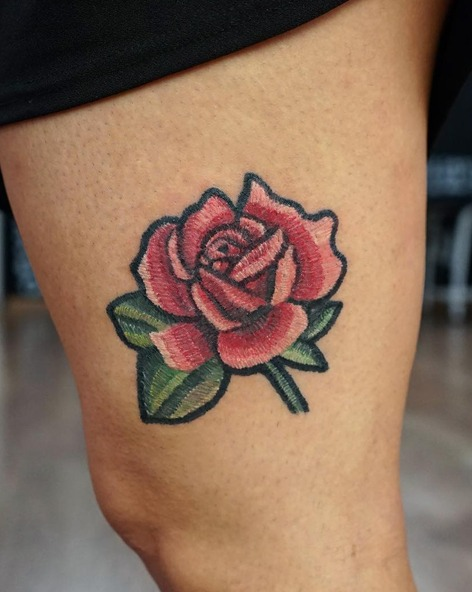 Rose Embroidery Tattoos - Image Credit Belongs to ksuarrow_tattoo - Chosen Art Tattoo