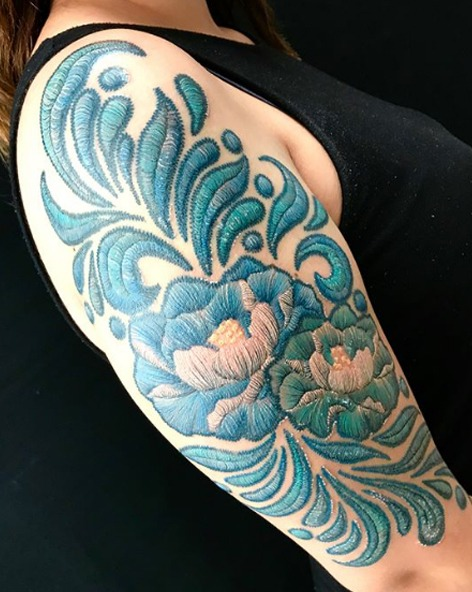 Vintage Blue Embroidery Tattoos - Image Credit Belongs to yomera1 - Chosen Art Tattoo