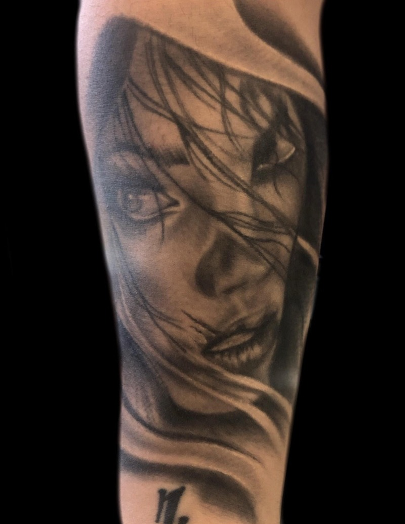 Black and Gray Female Portrait Tattoo by Matt Foster - Chosen Art Tattoo