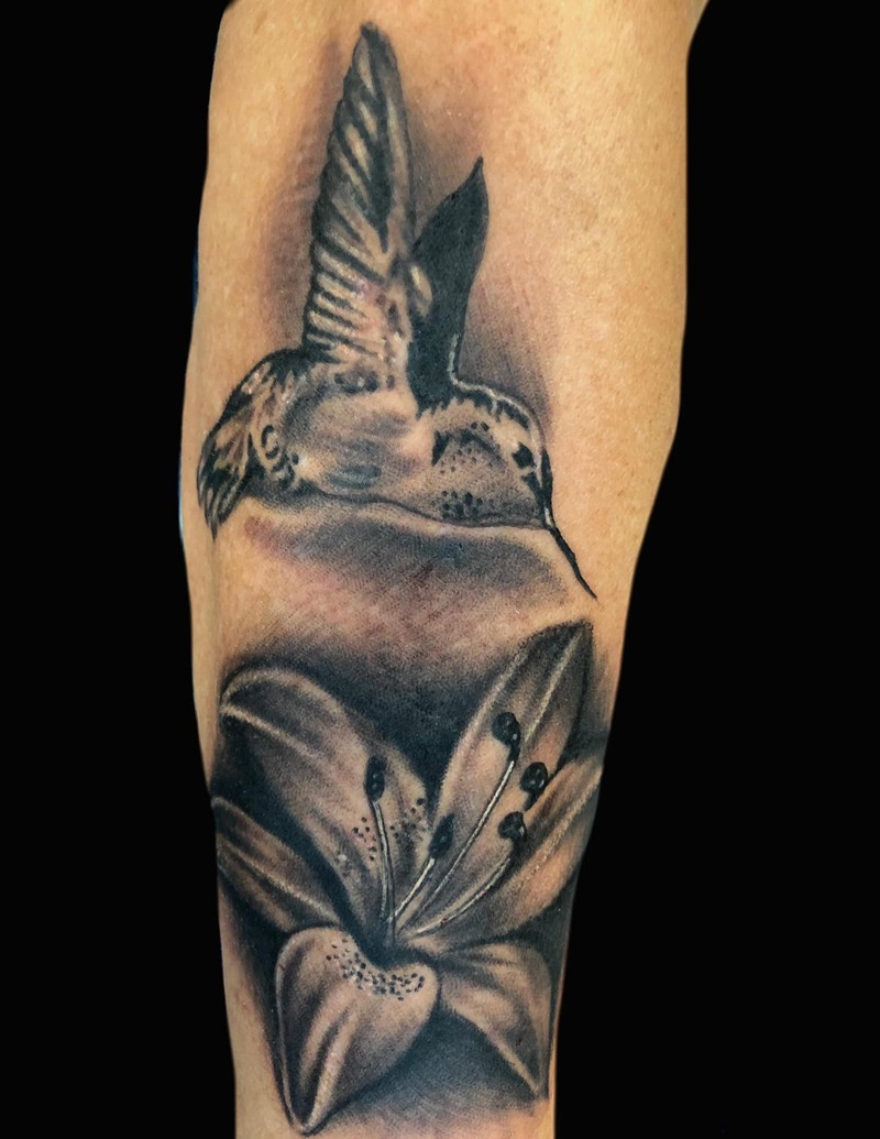 Black and Gray Hummingbird and Flower Tattoo by Matt Foster - Chosen Art Tattoo