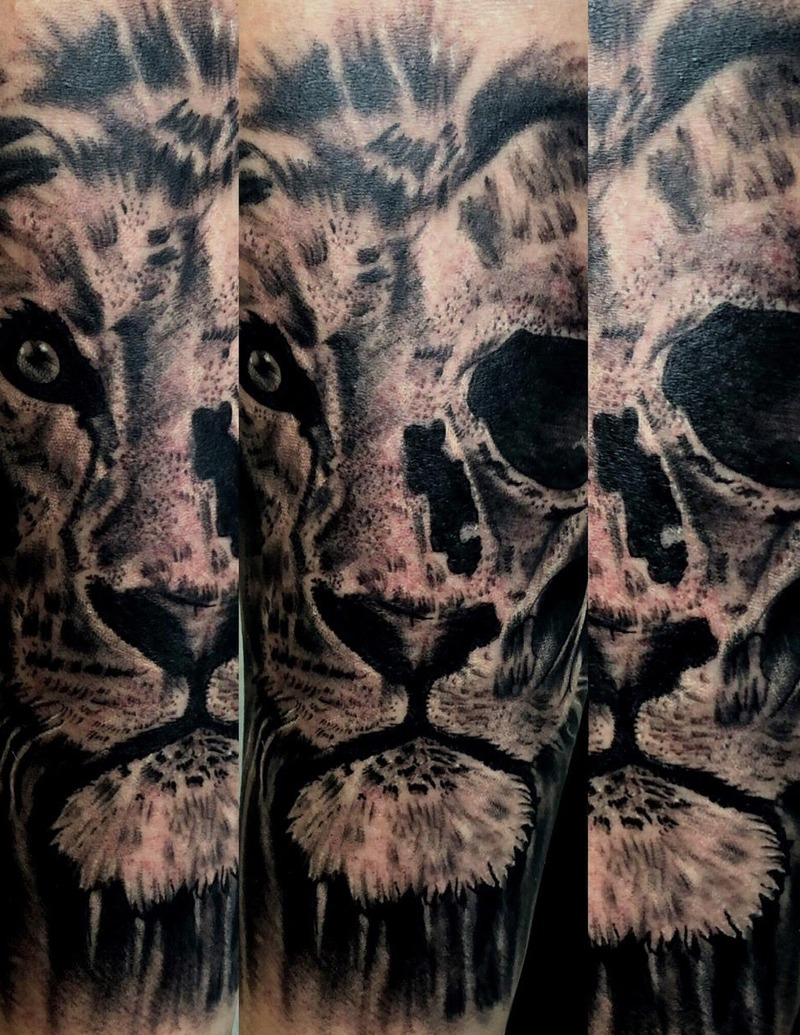 Black and Gray Lion Tattoo by Matt Foster - Chosen Art Tattoo