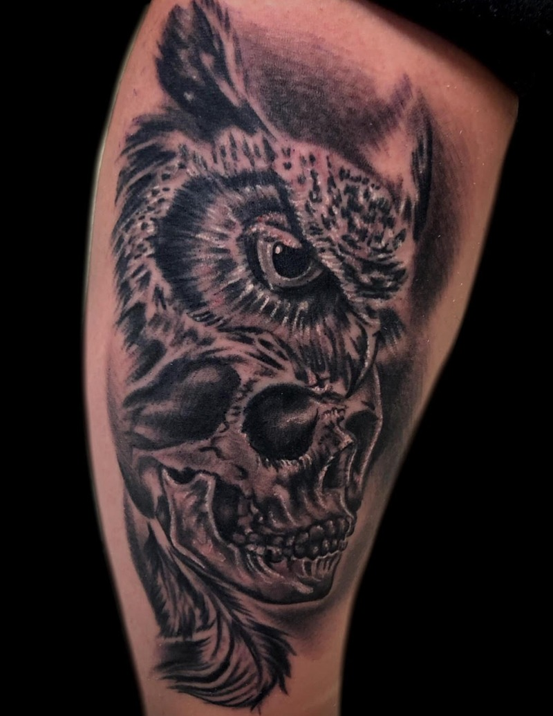 Black and Gray Owl and Skull Tattoo by Matt Foster - Chosen Art Tattoo