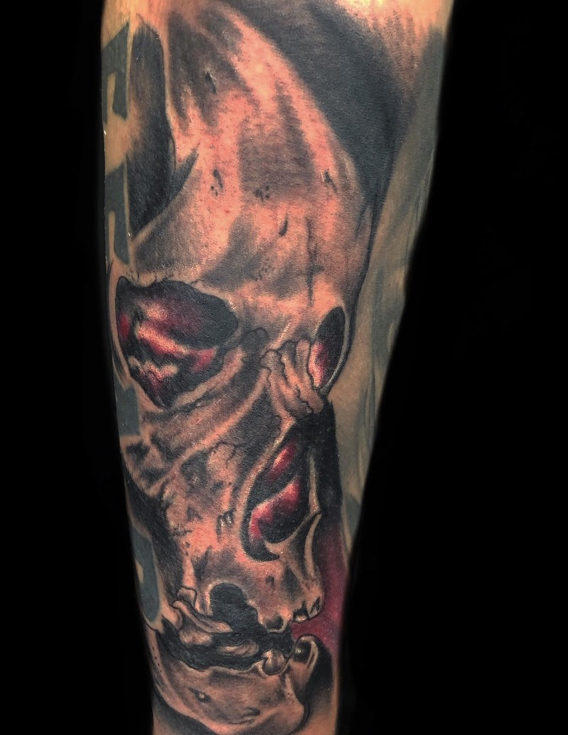 Black and Gray Skull Tattoo by Matt Foster - Chosen Art Tattoo