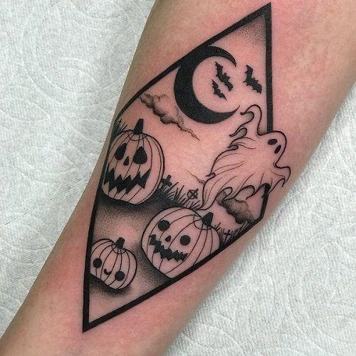 Classic Halloween Tattoos - Pumpkin Moon Ghost - Chosen Art Tattoo
