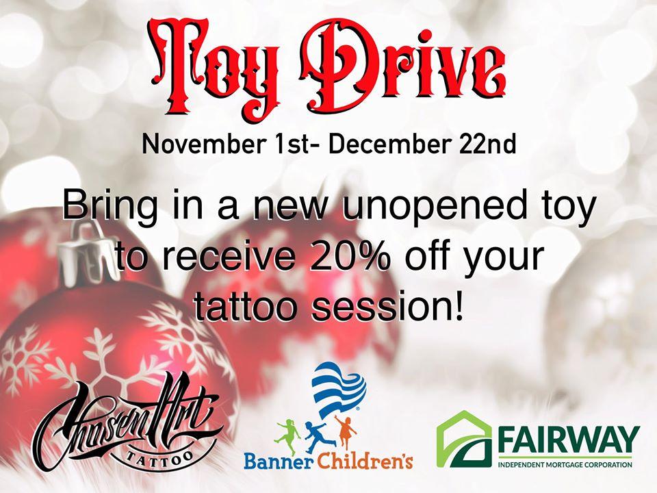 Toy Drive Glendale Chosen Art Tattoo