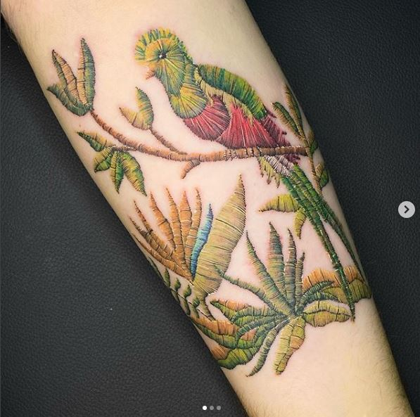 Embroidery Tattoos - Birds - 2020 Tattoo Trends - Chosen Art Tattoo - Image Credit Belongs to Yomera1