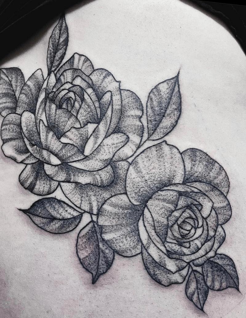 Black Dot Ink Style - Flower Tattoos - Alex Ortagus - Chosen Art Tattoo
