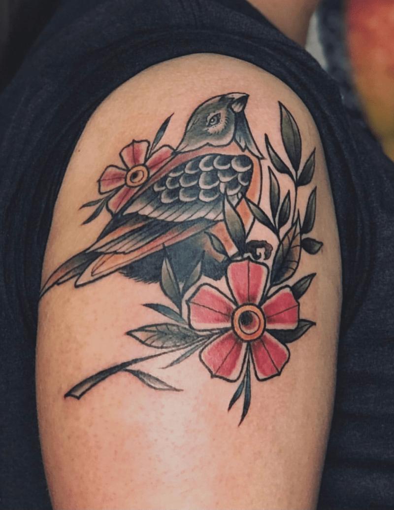 Color Bird with Flowers Tattoo - Alex Ortagus - Chosen Art Tattoo