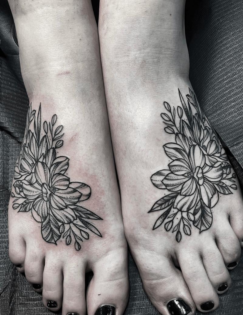 Foot Flower Black Line Work - Alex Ortagus - Chosen Art Tattoo