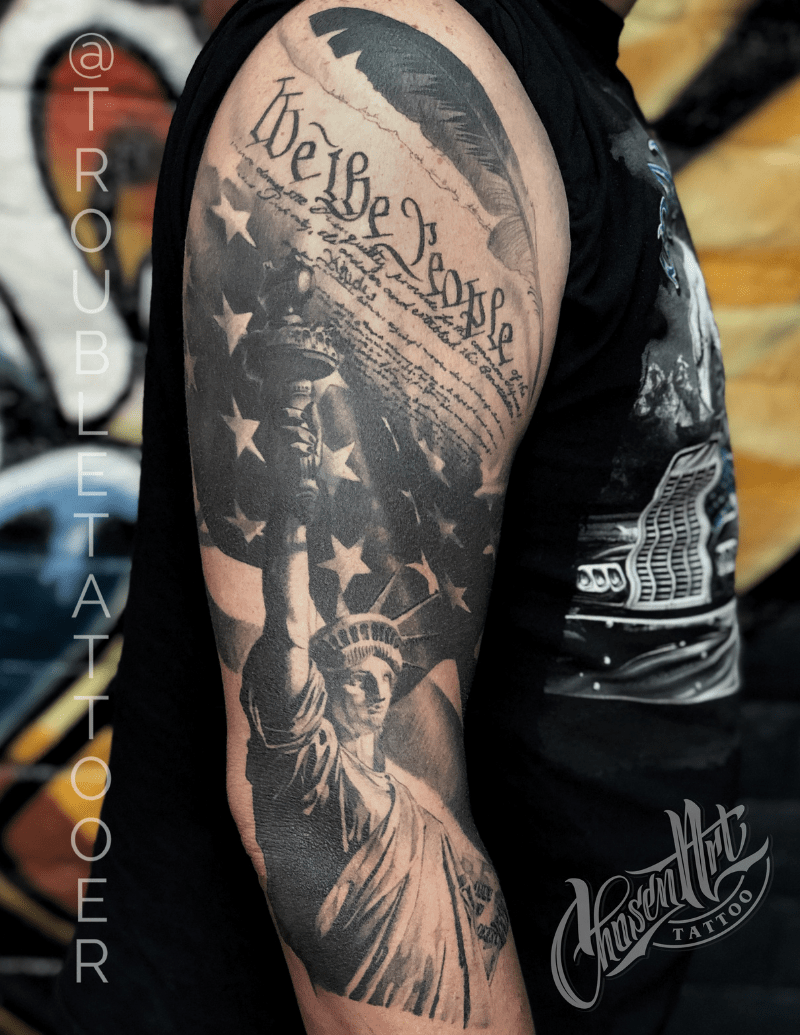 Black and Grey Japanese Inspired Dagger with Tiger Tattoo by Eric Jones - Chosen Art Tattoo